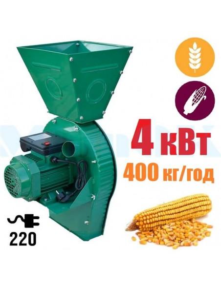 Зернодробилка Master Kraft IZKB-4000 (4 кВт, 220 в, зерно 400 кг/ч., початки 300 кг/ч) - фото