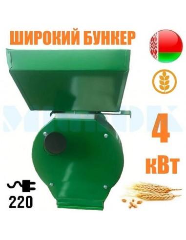 Зернодробилка Минск МКЭ-4000 NEW (4 кВт, 240 кг/час) PROМАШ большой бункер - фото 1