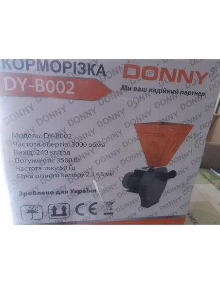 Зернодробилка Donny DY-В002 (3,5 кВт, 240 кг/час) коричнево- оранжевая большой бункер - фото