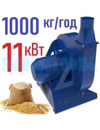 Зернодробилка молотковая KRAFT-11 (11 кВт, 1000 кг в час) - фото 1