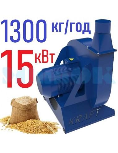 Зернодробилка молотковая KRAFT-15 (15 кВт, 1300 кг в час) - фото 1