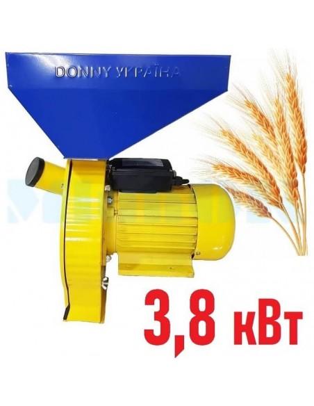 Зернодробилка Donny DYAA 3800 Україна (3,8 кВт, 280 кг/час) желто- синяя - фото